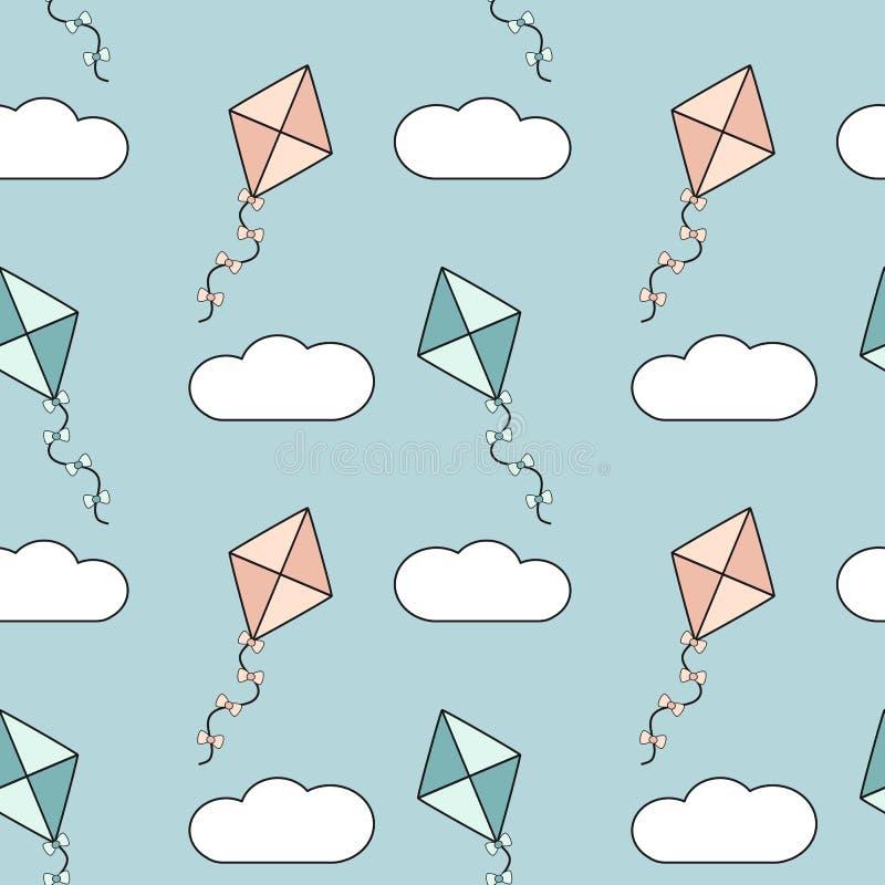 Cerfs-volants colorés mignons de bande dessinée dans l'illustration sans couture de fond de modèle de ciel bleu illustration libre de droits