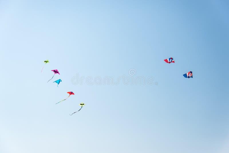 Cerfs-volants colorés sur le ciel bleu illustration de vecteur