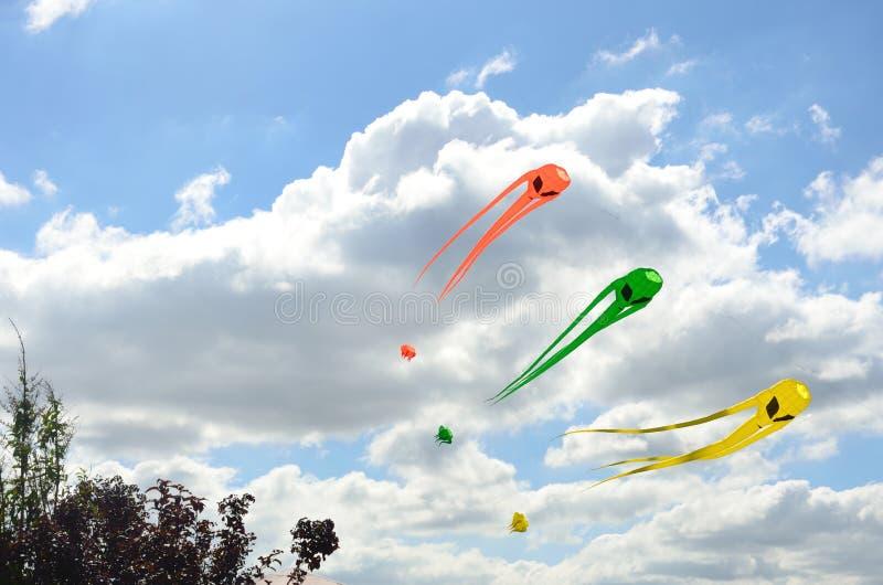 Cerfs-volants d'envahisseur de l'espace au-dessus des arbres photographie stock libre de droits