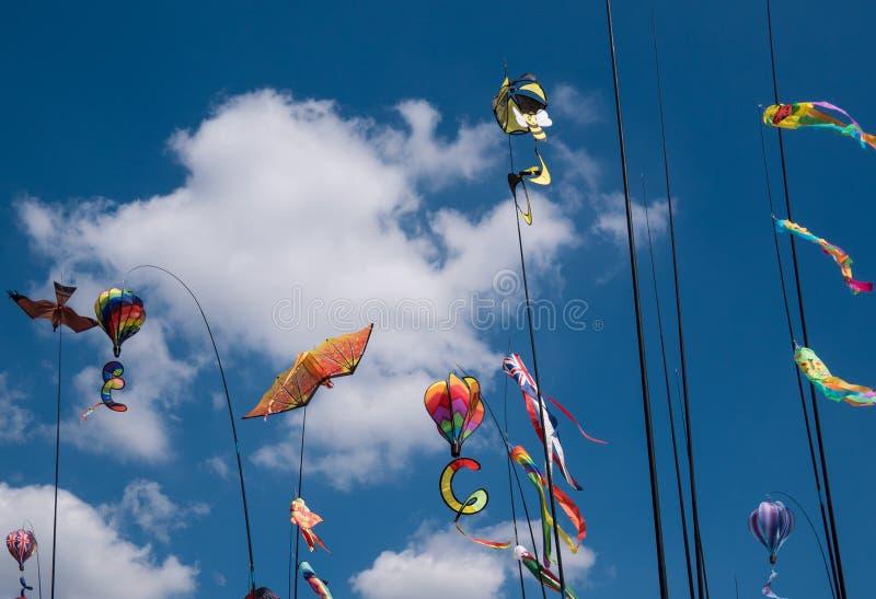 Cerfs-volants sur des poteaux image stock