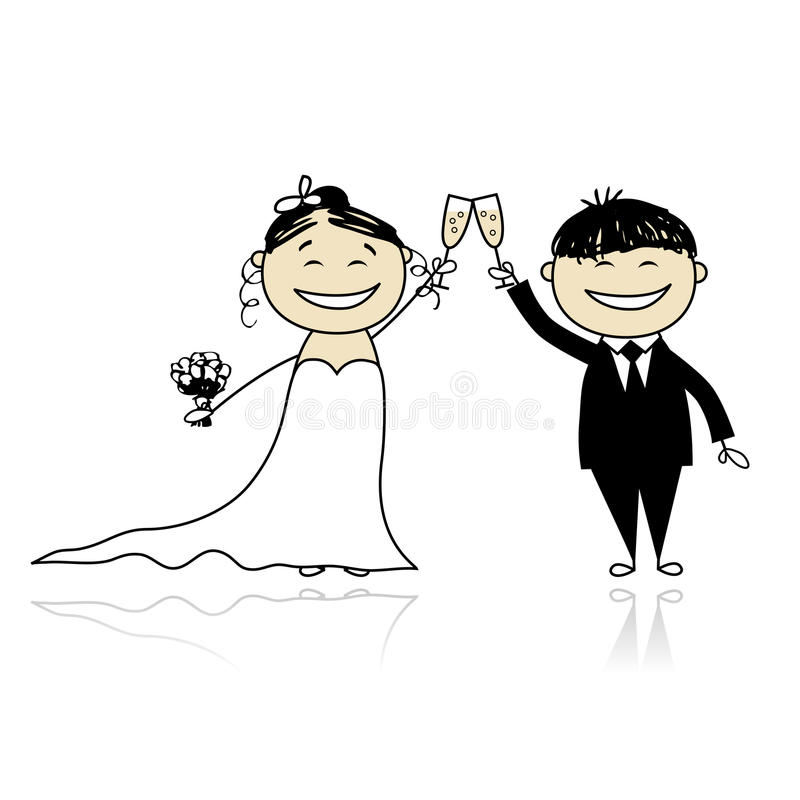 Cerimónia de casamento - noiva e noivo junto ilustração do vetor