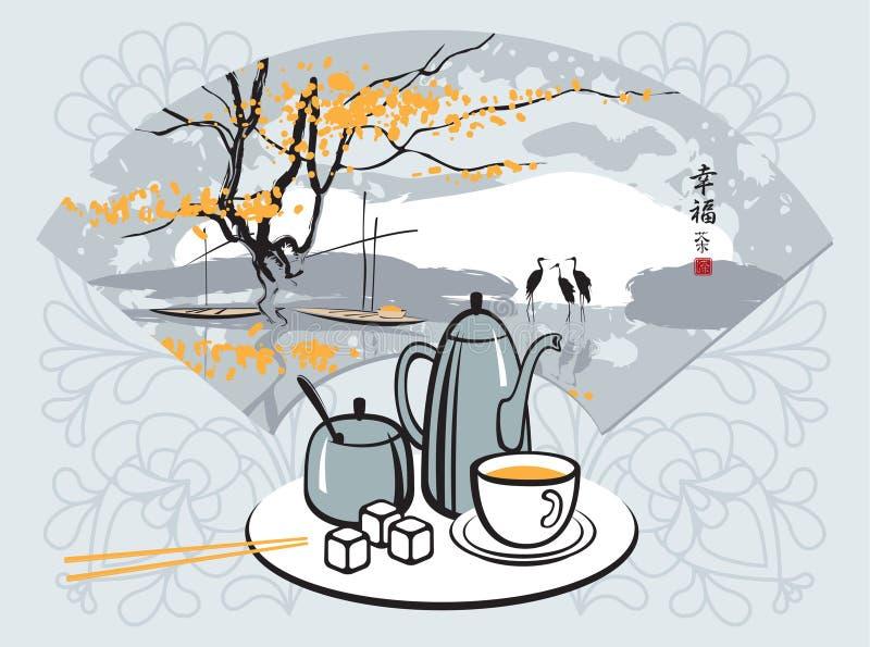 Cerimónia de chá ilustração stock