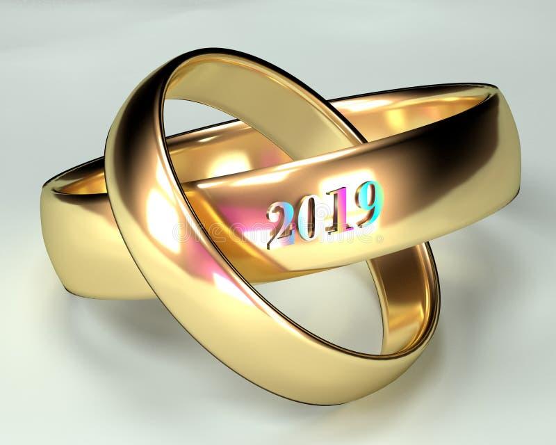 Cerimônia 2019 das alianças de casamento imagens de stock royalty free