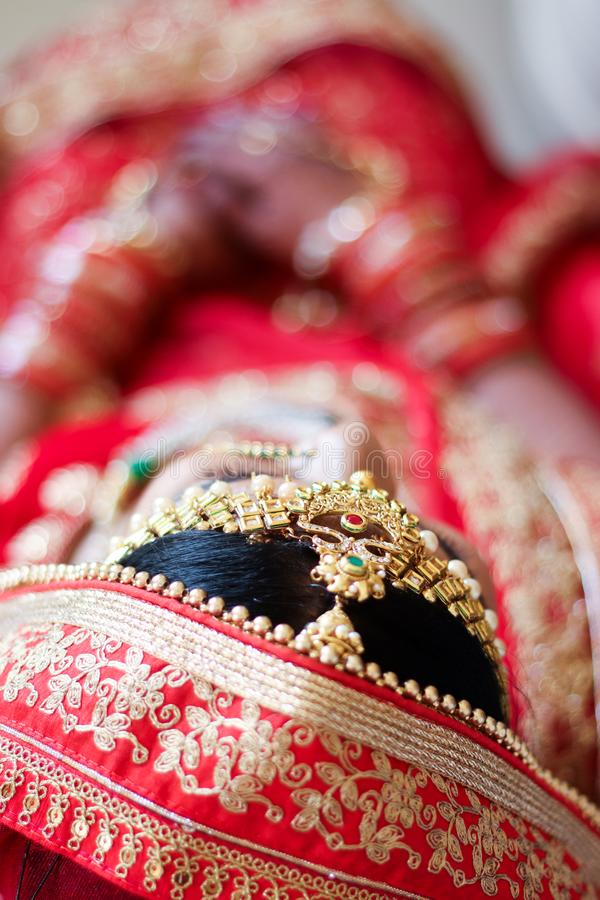 Cerim?nia de casamento indiana do Headshot - ?ndia, Ahmedabad imagem de stock royalty free