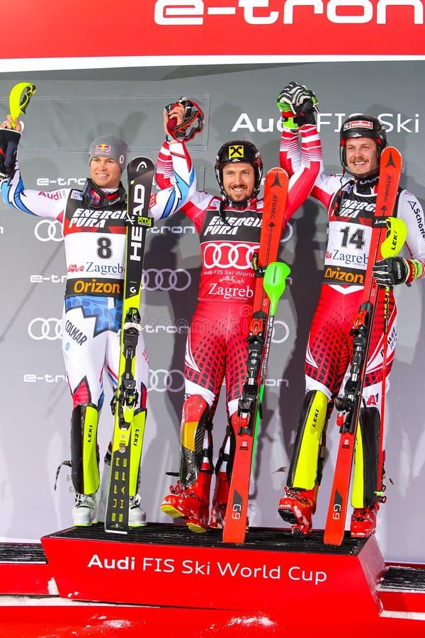 Cerimônia de entrega dos prêmios do slalom dos homens do troféu 2019 da rainha da neve imagem de stock