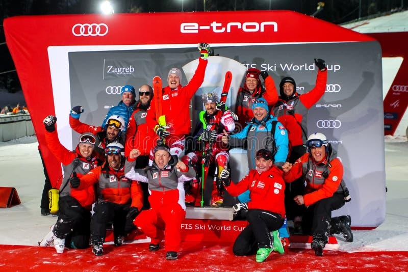 Cerimônia de entrega dos prêmios do slalom dos homens do troféu 2019 da rainha da neve fotos de stock royalty free