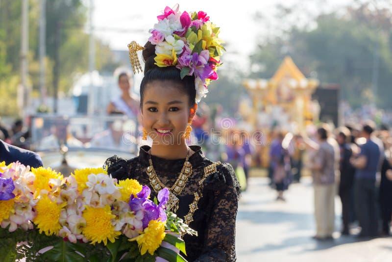 Cerimônia de inauguração 2017 de Chiang Mai Flower Festival do aniversário fotos de stock royalty free