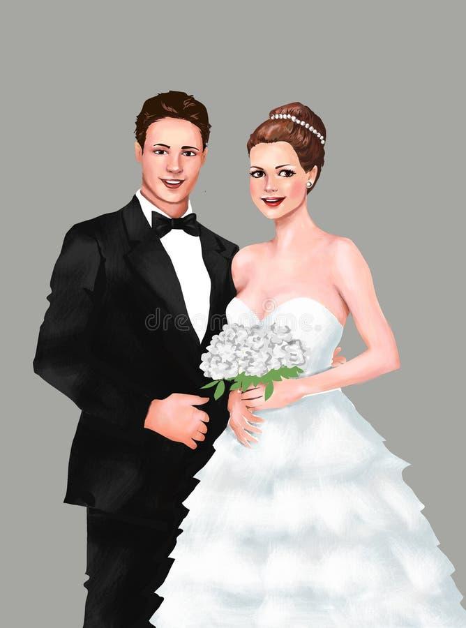 Cerimônia de união dos noivos de Wedding Ceremony dos noivos noiva, noivo, união cerimônia, cartão, cumprimento, dentro ilustração do vetor