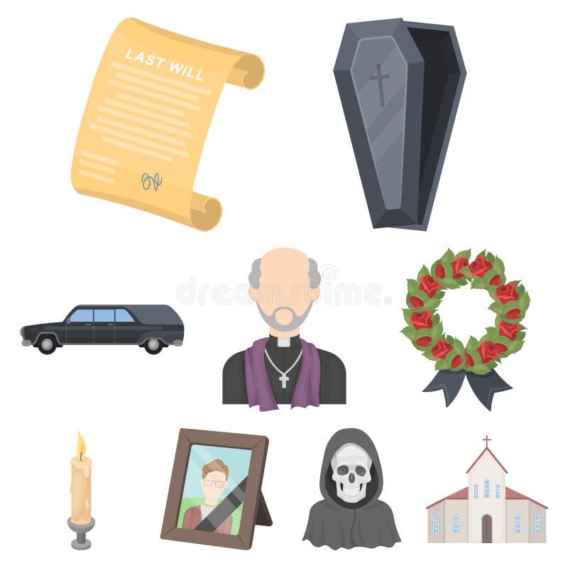 Cerimônia fúnebre, cemitério, caixões, ícone priestFuneral da cerimônia na coleção do grupo no estoque do símbolo do vetor do est ilustração stock