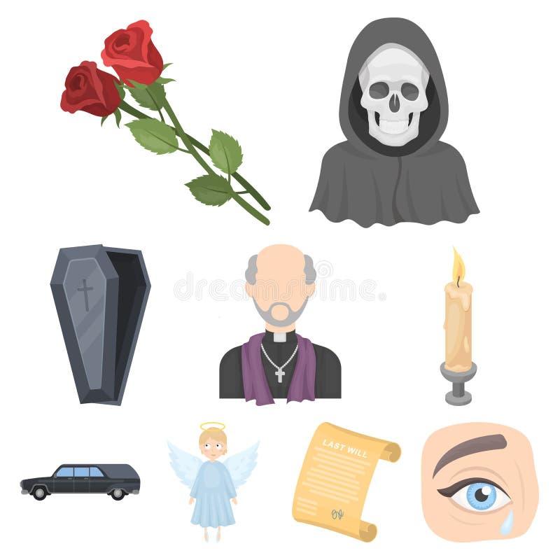 Cerimônia fúnebre, cemitério, caixões, ícone priestFuneral da cerimônia na coleção do grupo no estoque do símbolo do vetor do est ilustração royalty free