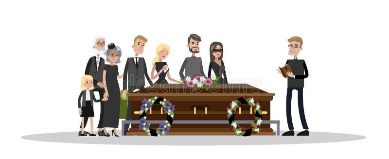 Cerimônia fúnebre no cemitério ilustração royalty free