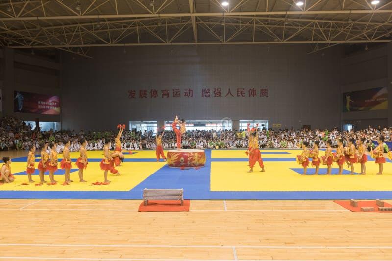 Cerimônia da Desempenho-abertura--A competição amigável de Taekwondo do oitavo copo de GoldenTeam fotos de stock