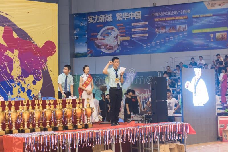 Cerimônia da juramento-abertura do árbitro--A competição amigável de Taekwondo do oitavo copo de GoldenTeam imagem de stock