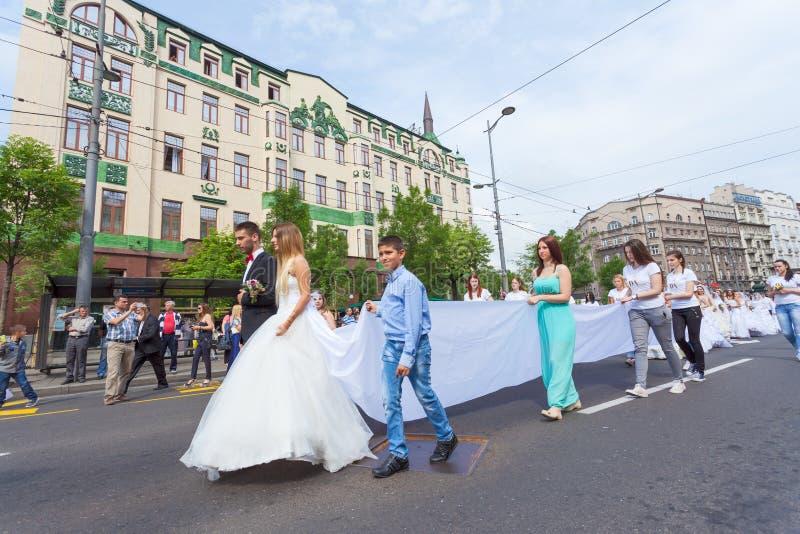 Cerimônia de casamento coletiva tradicional em Belgrado imagem de stock