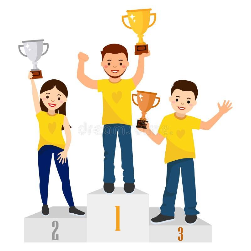 Cerimônia de concessões Três povos com copos dos vencedores em um suporte ilustração stock