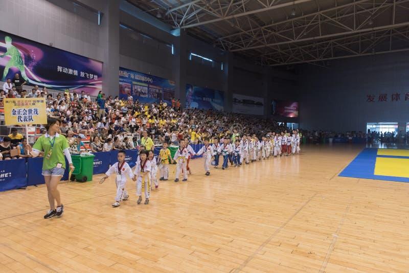 Cerimônia de inauguração--A competição amigável de Taekwondo do oitavo copo de GoldenTeam fotografia de stock