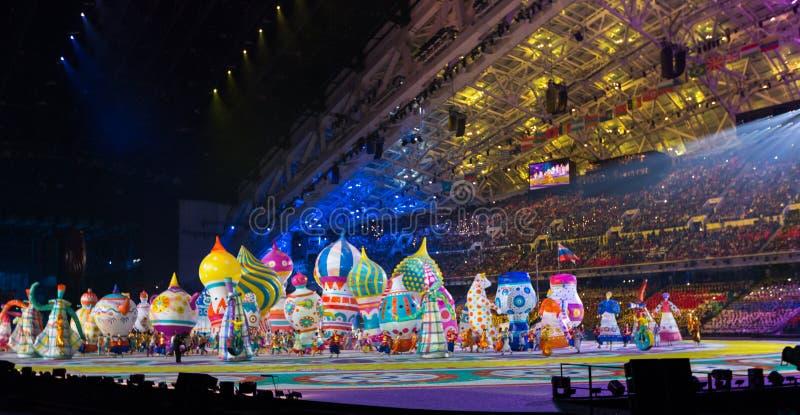 Cerimônia de inauguração dos Jogos Olímpicos de Sochi 2014 fotografia de stock