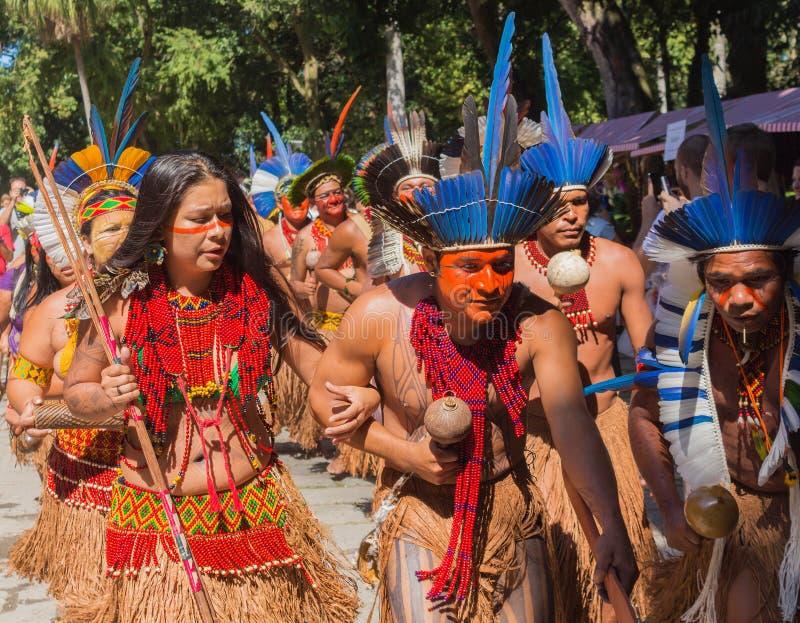 Cerimonia degli indiani brasiliani indigeni fotografie stock libere da diritti