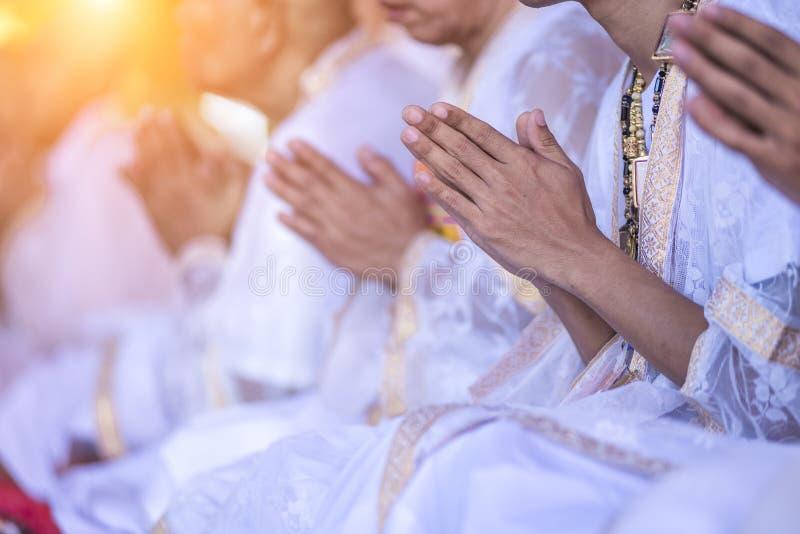 Cerimonia di classificazione nel rituale tailandese buddista del monaco fotografia stock libera da diritti
