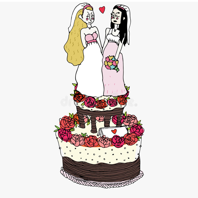 Cerimonia di nozze omosessuale illustrazione vettoriale