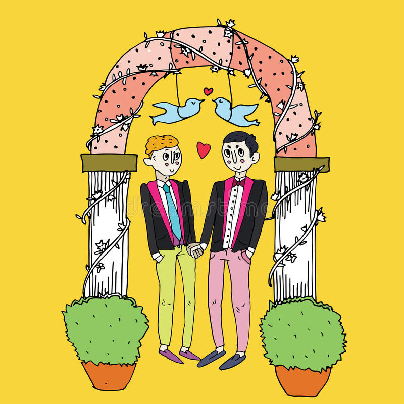 Cerimonia di nozze omosessuale royalty illustrazione gratis