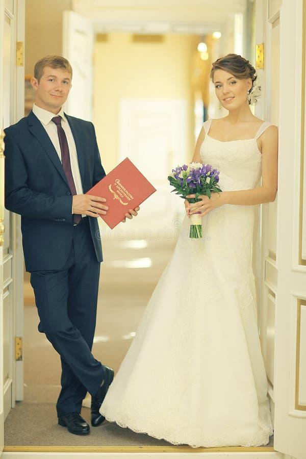 cerimonia di nozze in una registrazione fotografia stock libera da diritti