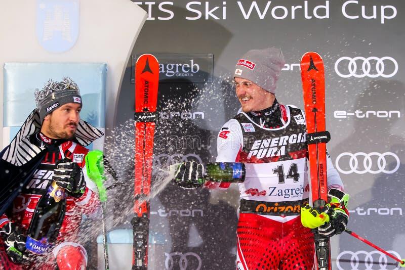 Cerimonia di premiazione dello slalom degli uomini del trofeo 2019 della regina della neve fotografia stock libera da diritti