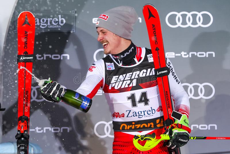Cerimonia di premiazione dello slalom degli uomini del trofeo 2019 della regina della neve fotografie stock libere da diritti