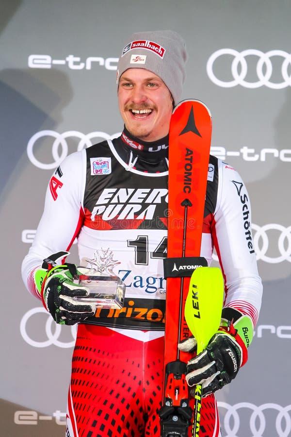 Cerimonia di premiazione dello slalom degli uomini del trofeo 2019 della regina della neve immagine stock