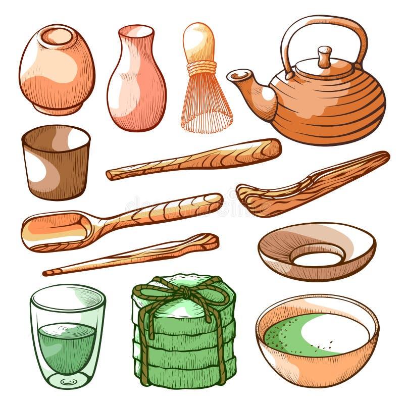 Cerimonia di tè di Matcha ed insieme disegnato a mano dell'ingrediente illustrazione vettoriale