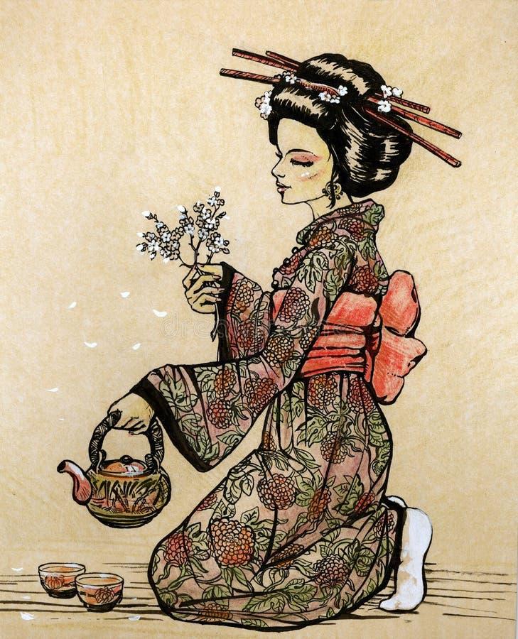 Cerimonia di tè nello stile giapponese: geisha con la teiera royalty illustrazione gratis