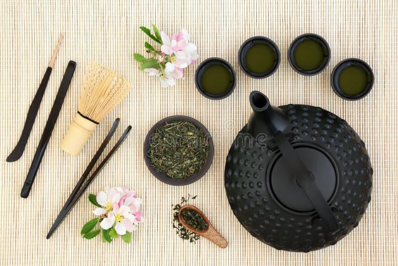 Cerimonia di tè di Sencha del giapponese fotografia stock libera da diritti