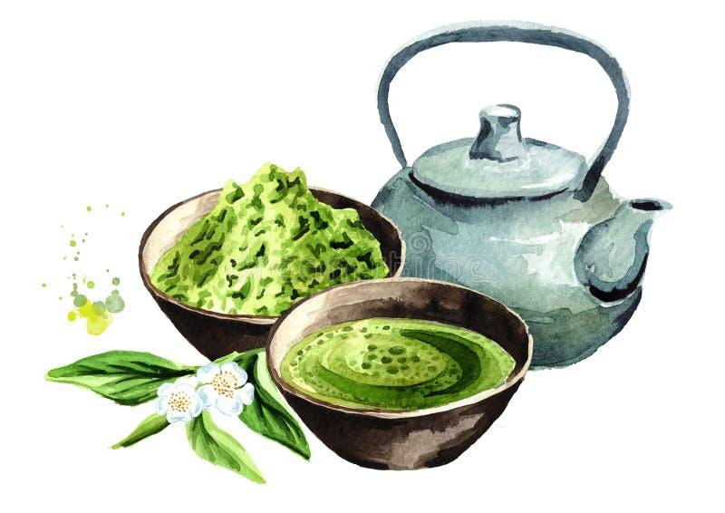 Cerimonia di tè verde organica di matcha Illustrazione disegnata a mano dell'acquerello, isolata su fondo bianco illustrazione vettoriale