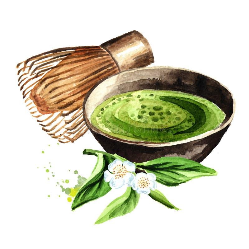 Cerimonia di tè verde organica di matcha Illustrazione disegnata a mano dell'acquerello isolata su fondo bianco illustrazione vettoriale