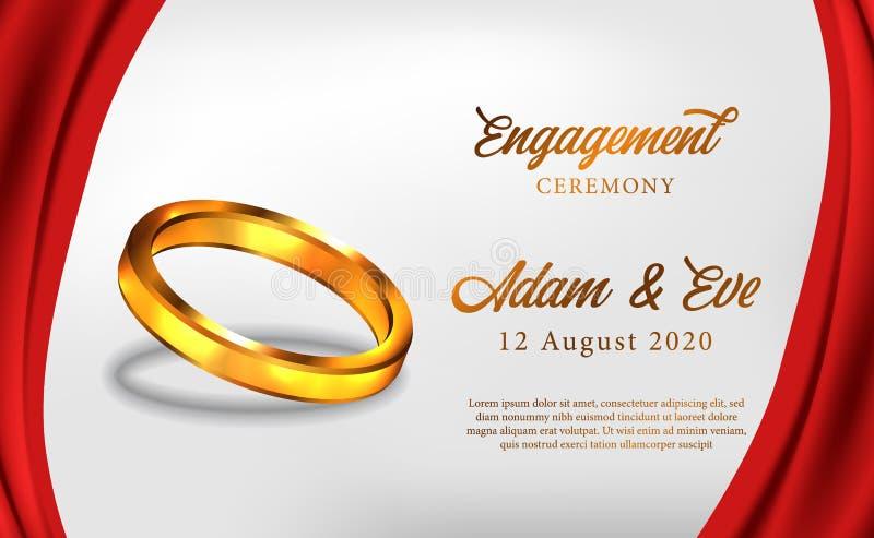cerimonia dorata di impegno dell'anello 3D proporre il modello romantico dell'insegna del manifesto di nozze royalty illustrazione gratis