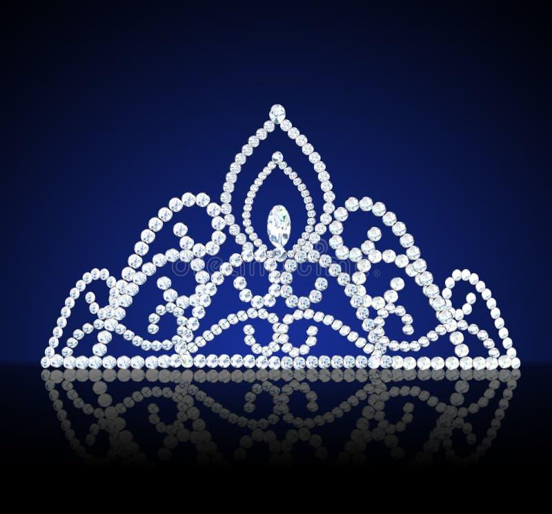 Cerimonia nuziale femminile del Diadem con il diamante su oscurità illustrazione vettoriale