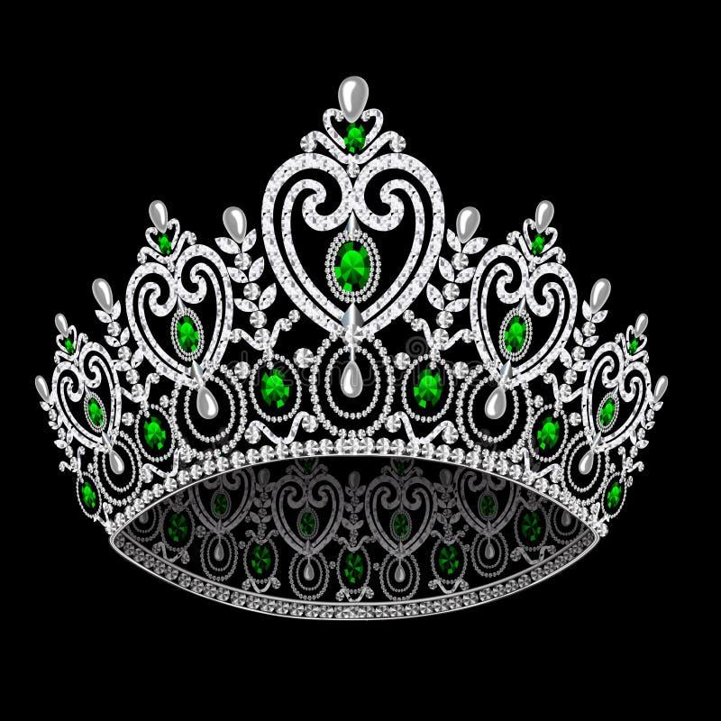 Cerimonia nuziale femminile del diadem della corona con lo smeraldo illustrazione vettoriale