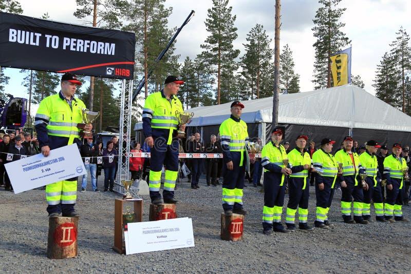 Cerimonia premiata dei campionati finlandesi di caricamento del ceppo fotografia stock