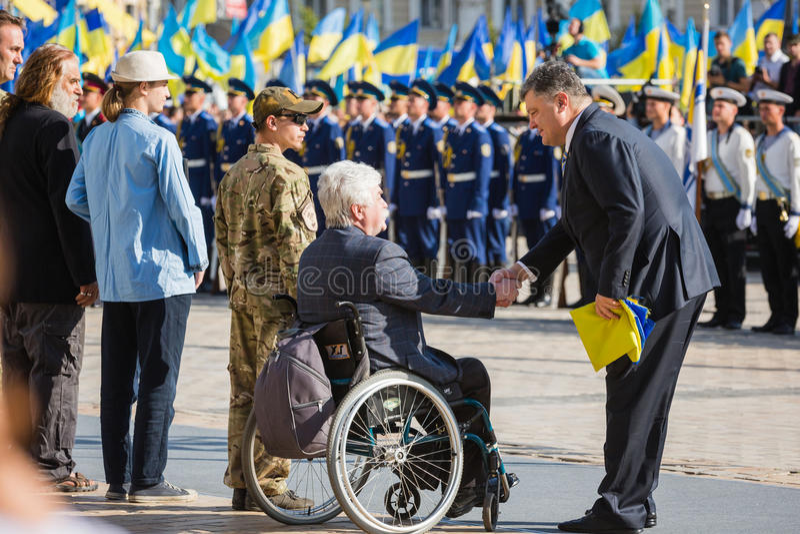 Cerimonie dedicate al giorno della bandiera dello stato dell'Ucraina fotografia stock