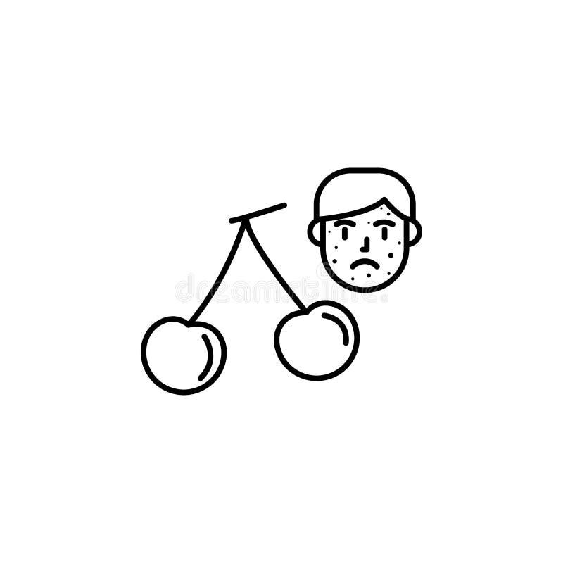 Cerise, icône allergique de visage Élément des problèmes avec l'icône d'allergies Ligne mince icône pour la conception de site We illustration stock