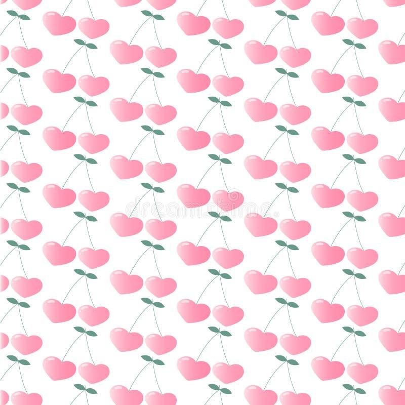 Cerise rose sous forme de coeurs Configuration de répétition sans joint wallpaper Figure pour imprimer sur le tissu, papier d'emb illustration de vecteur