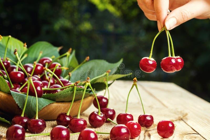 Cerise sur la main Table en bois de Cherrieson Cerise rouge Swe frais images stock