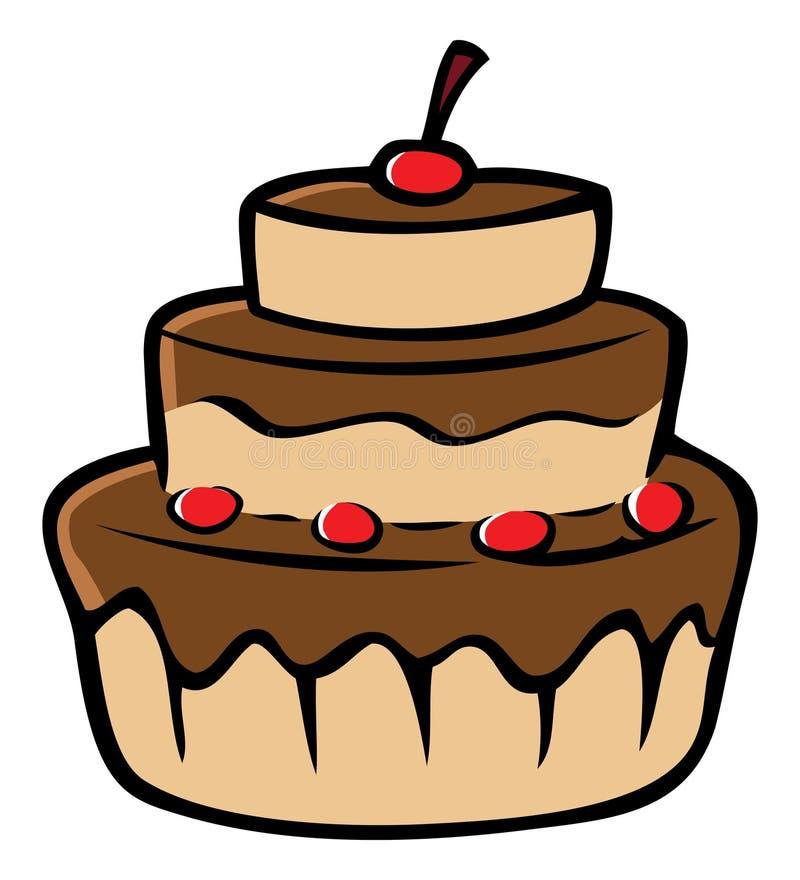 Cerises de gâteau de chocolat illustration libre de droits