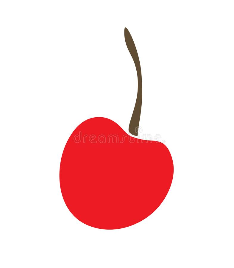 Cerises simples d'illustration de vecteur, logo ou autocollant, pour le dessin d'enfants du fruit, baie rouge illustration stock