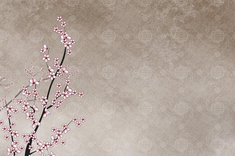 Cerisier décoratif et filigre chinois de configuration illustration libre de droits