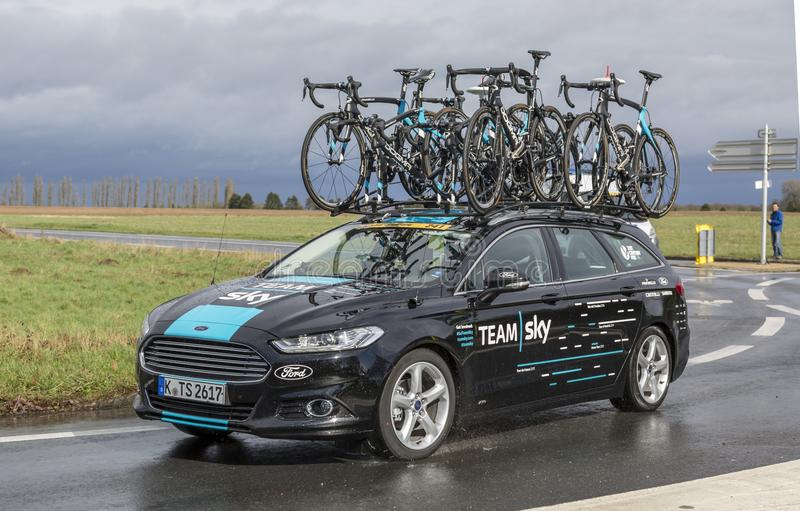 The Car of Team Sky - Paris-Nice 2017 royalty free stock images