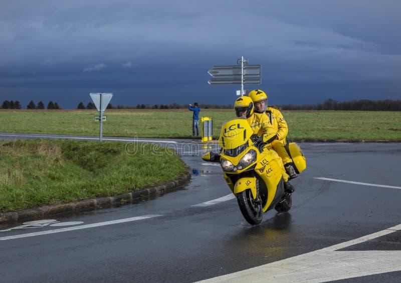 The Yellow LCL Bike - Paris-Nice 2017 royalty free stock image