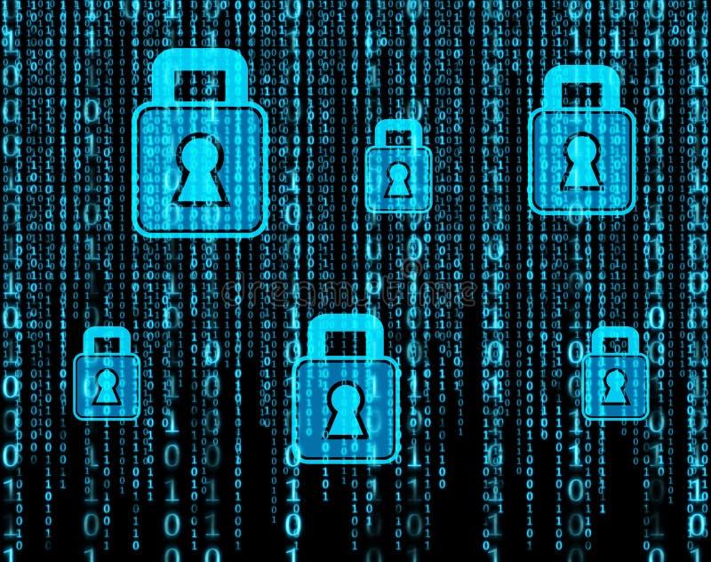 Ceros y unos, holograma del candado, seguridad del web imagenes de archivo