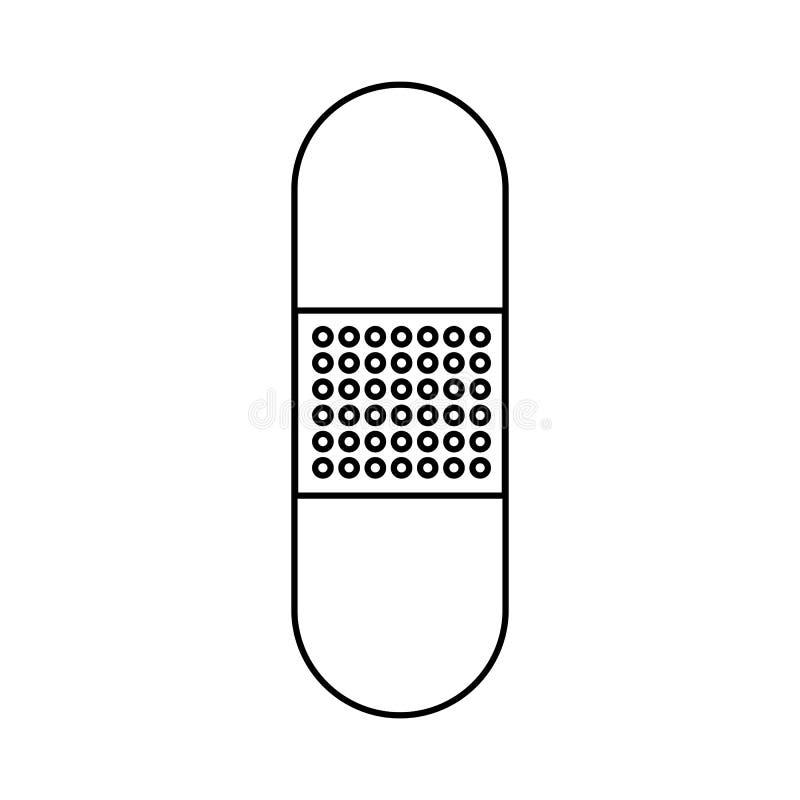 Cerotto adesivo medico igienico per la sigillatura e la disinfezione le ferite e dei tagli, icona in bianco e nero semplice su un illustrazione vettoriale