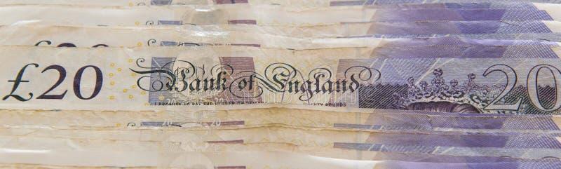 Cerrado para arriba de diversos billetes de banco de la libra esterlina imagen de archivo libre de regalías